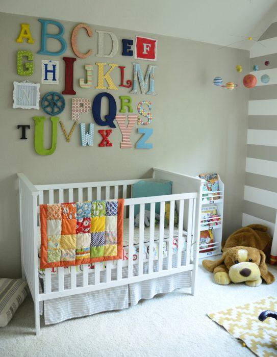 Alphabet wall art kids bedroom ideas 1