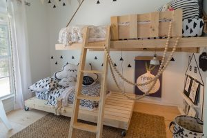 This bright and gender-neutral kids room is not only a delightful place to play, but a retreat for little ones.