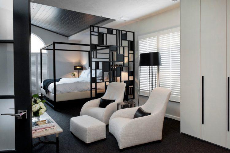 Simple black panel room divider