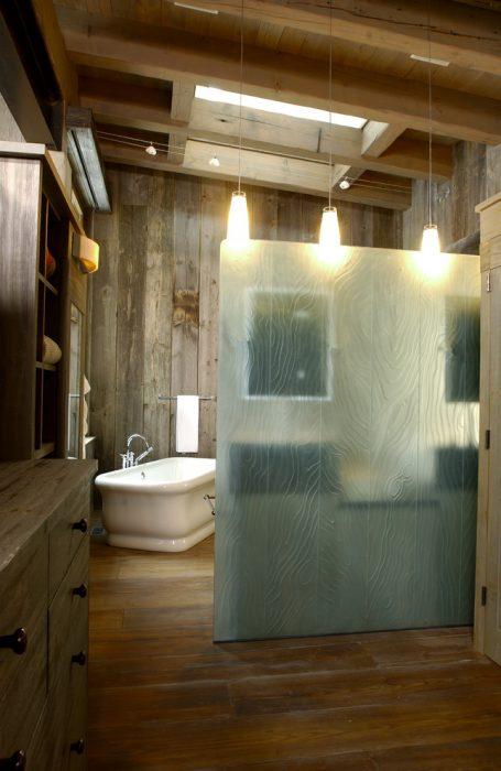 rustic bathroom divider