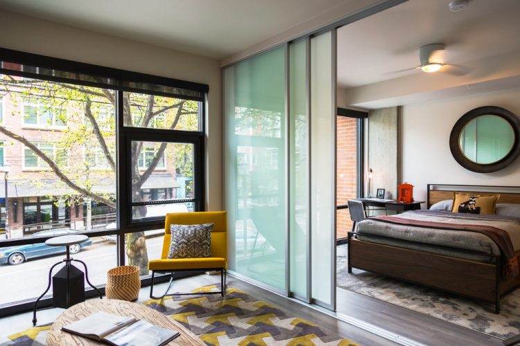 sliding glass bedroom divider