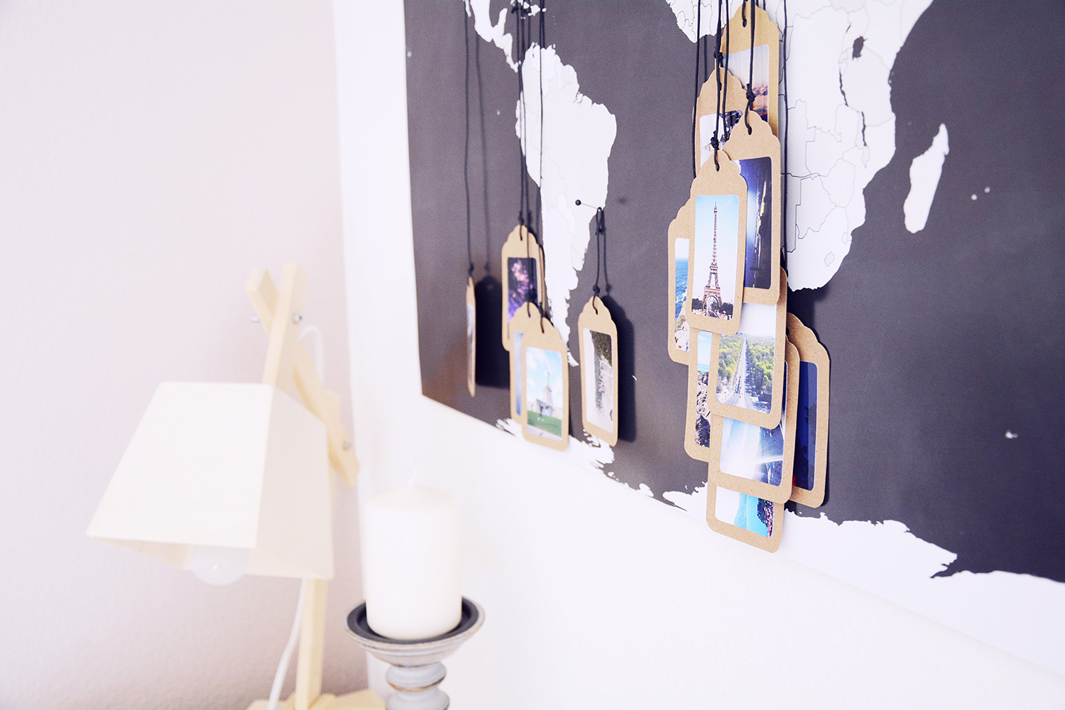 World Map Tagging Wall Art for Vintage Decor Ideas