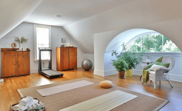 A yoga room is the perfect way to de-stress.