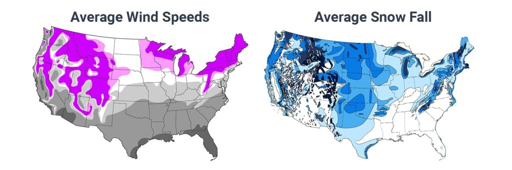 USA Average Snow Fall and Wind Speeds